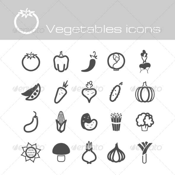 GraphicRiver Icons Set Vegetables 7301871