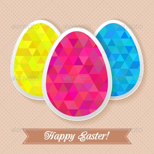 GraphicRiver Greeting Easter Card with Triangle Eggs 7301949