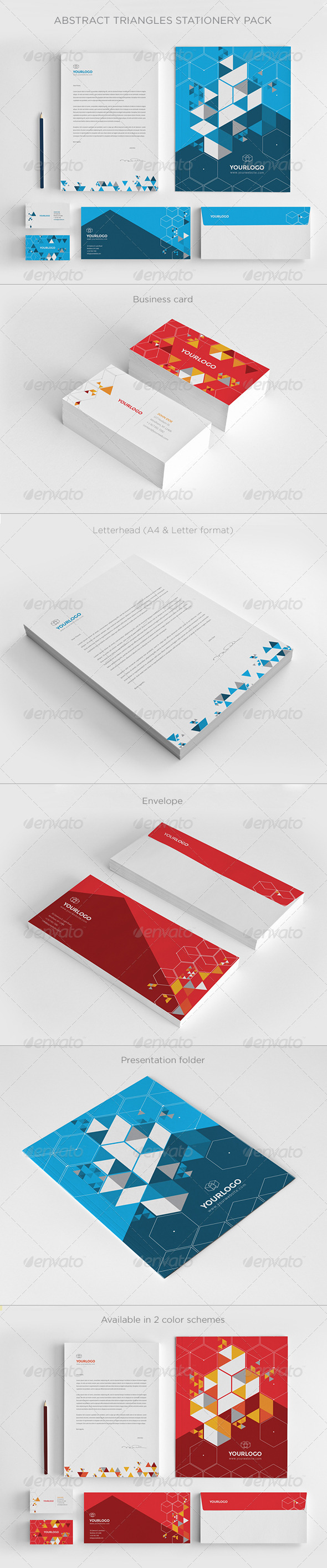 GraphicRiver Abstract Triangles Stationery Pack 7301957