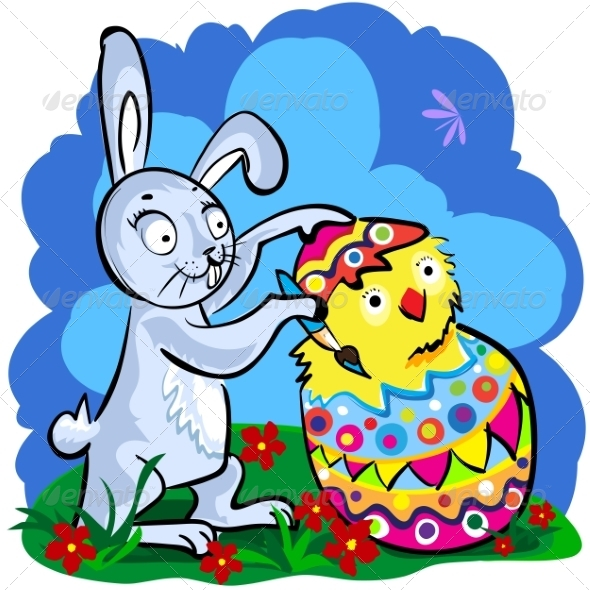 GraphicRiver Cartoon Easter bunny 7302798