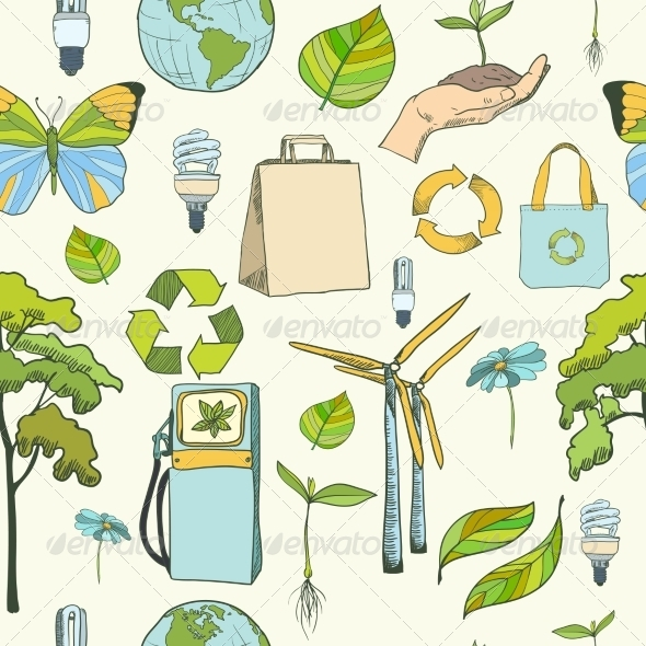 GraphicRiver Seamless Ecology and Environment Pattern 7302800