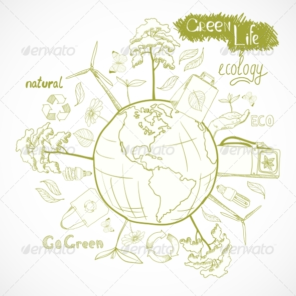 GraphicRiver Doodles Ecology and Environment Concept 7302828
