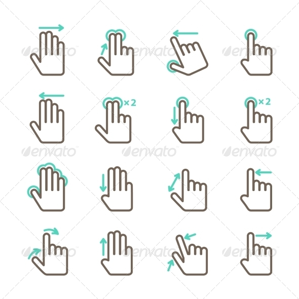 GraphicRiver Hand Touch Gestures Icon Set 7302830