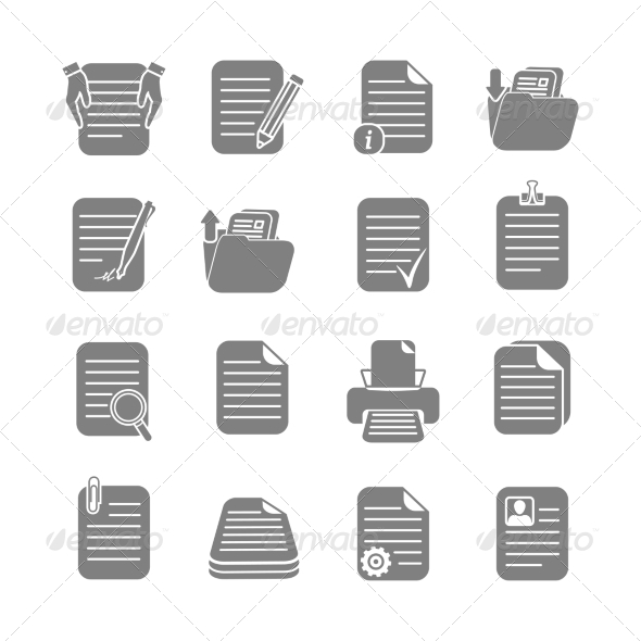 GraphicRiver Documents files and folders icons set 7302833