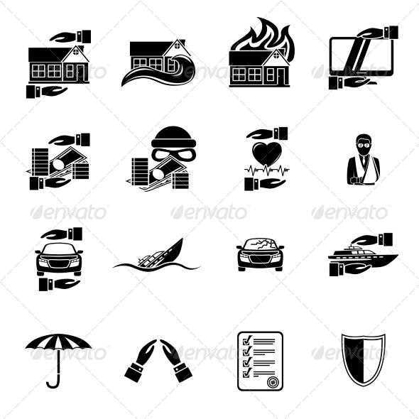 GraphicRiver Insurance Security Icons Set 7302839