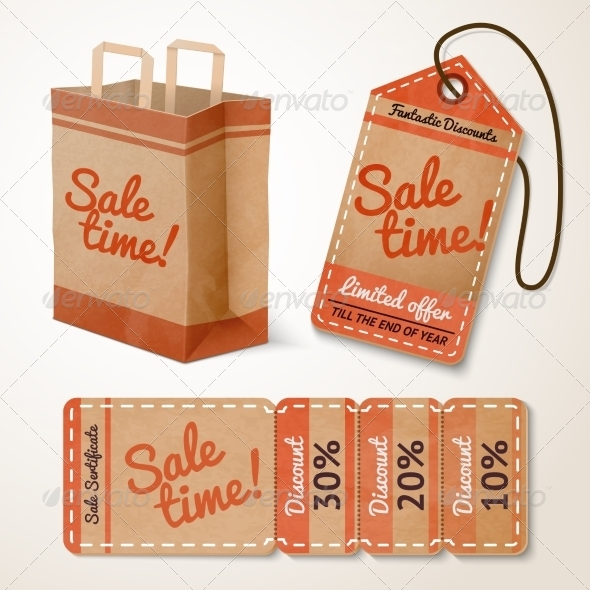 GraphicRiver Sale items cardboard set 7302841