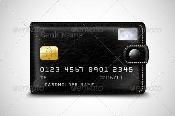 GraphicRiver Black Wallet Bank Credit Card Concept 7302844