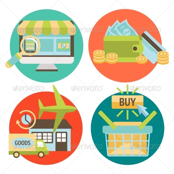 GraphicRiver Online Shopping Business Icons Set 7302853