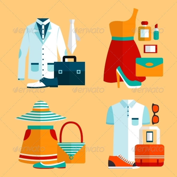 GraphicRiver Shopping Clothing Icons Set 7302854