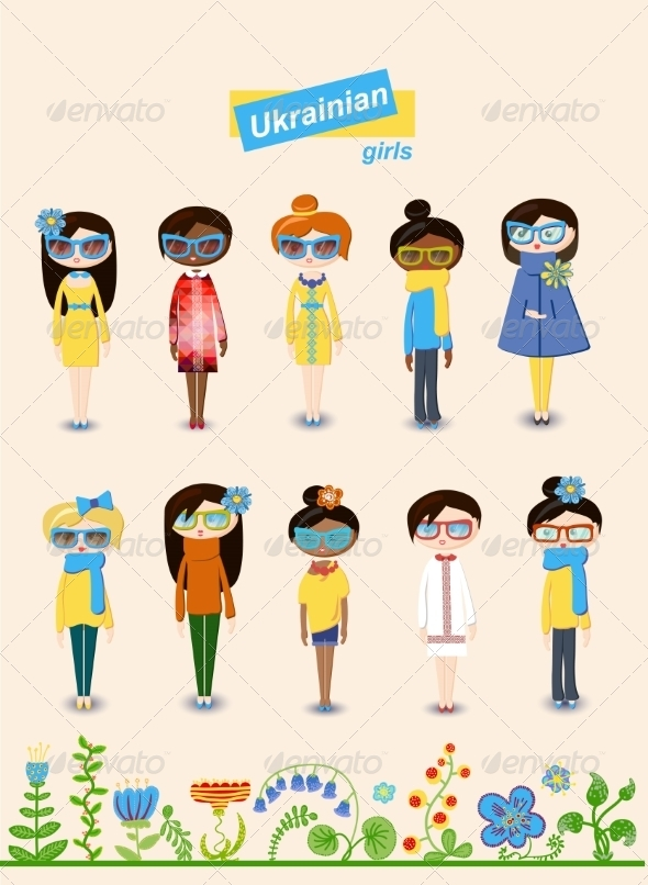 GraphicRiver Set of Teenage Ukrainian Girls 7302857