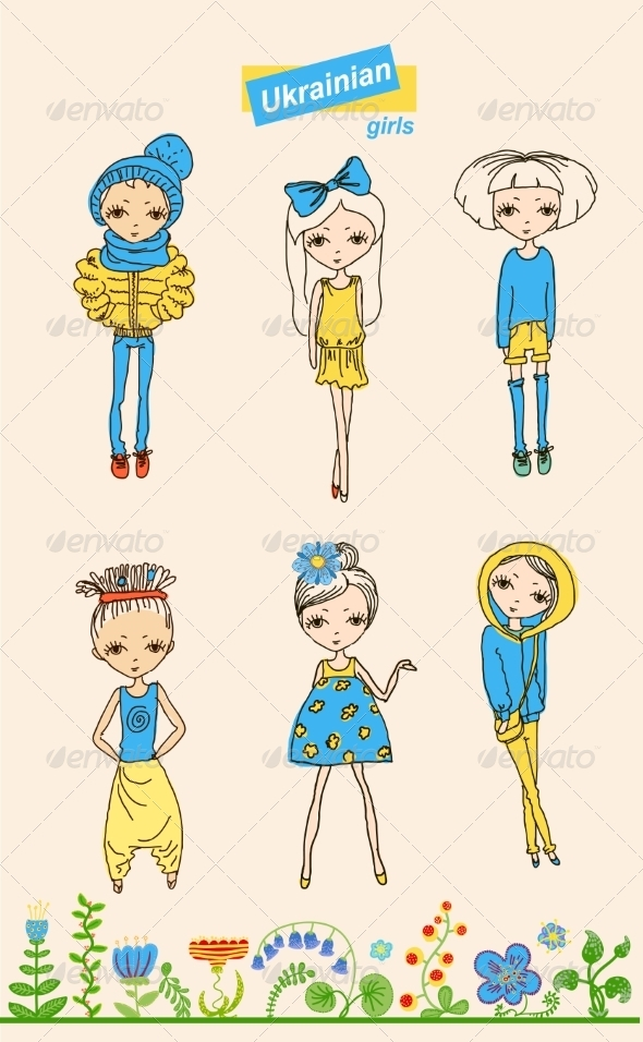 GraphicRiver Set of Teenage Ukrainian Girls 7302860
