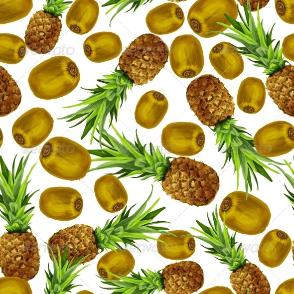 GraphicRiver Pineapple and Kiwi Seamless Pattern 7302889