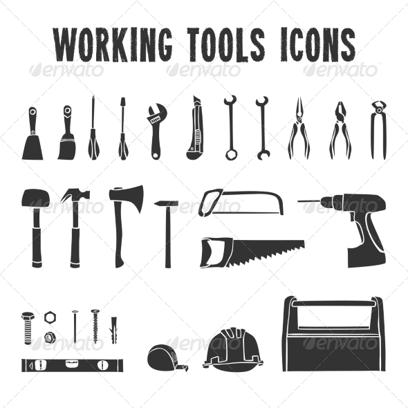 GraphicRiver Working Tool Box Icons Set 7302899