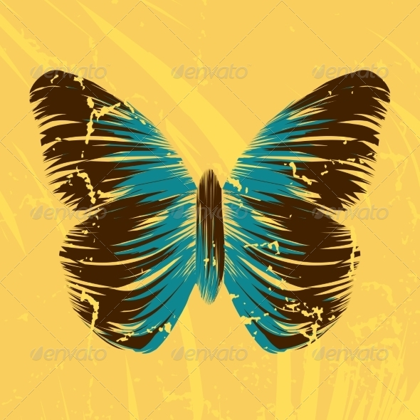 GraphicRiver Retro Butterfly on Old Background 7303232