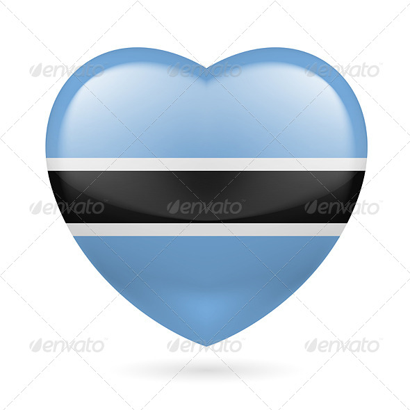 GraphicRiver Heart icon of Botswana 7304731