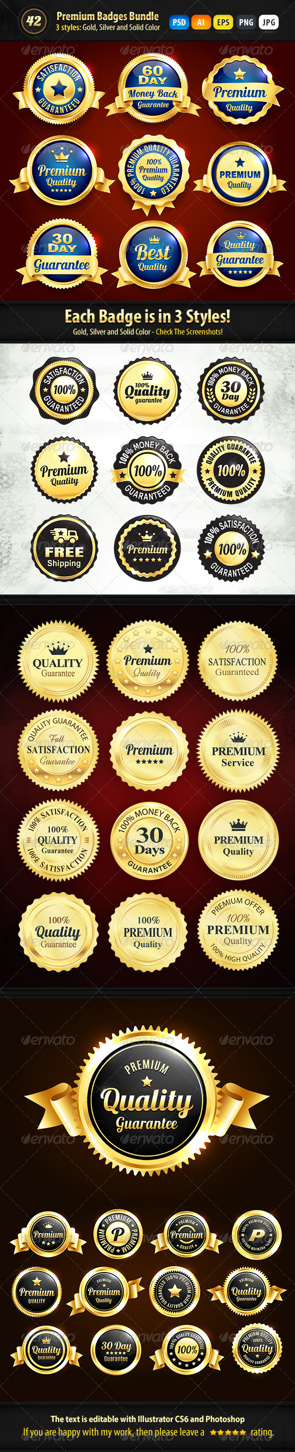 GraphicRiver Bundle 42 Gold Silver And Solid Color Badges 7305304