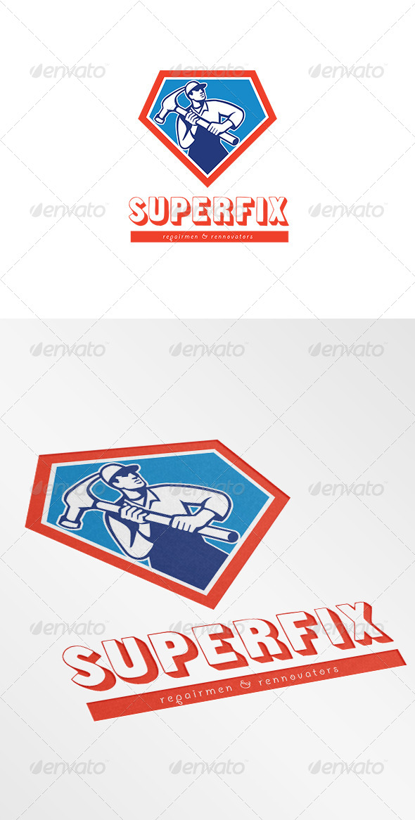 GraphicRiver Superfix Repairman and Renovators Logo 7305696