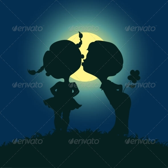 GraphicRiver Moonlight Silhouettes of Kissing Boy and Girl 7305743