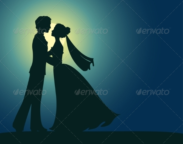 GraphicRiver Silhouettes of Bride and Groom 7305754