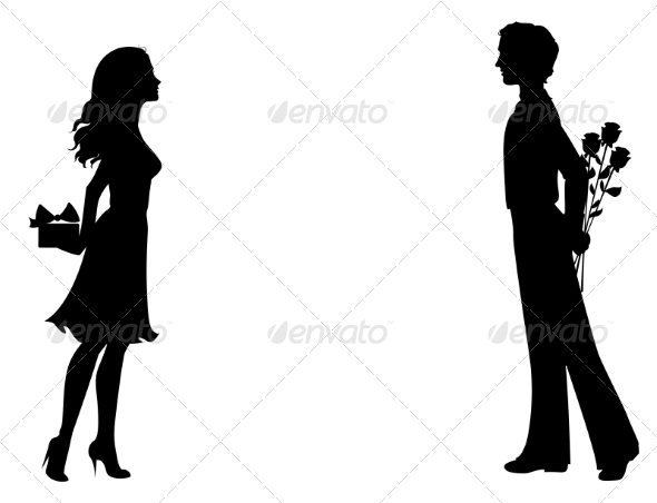 GraphicRiver Silhouettes of Man and Woman with Gifts 7305761