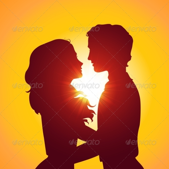 GraphicRiver Sunset Silhouettes of Kissing Couple 7305765