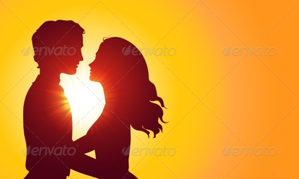 GraphicRiver Sunset Silhouettes of Kissing Couple 7305766
