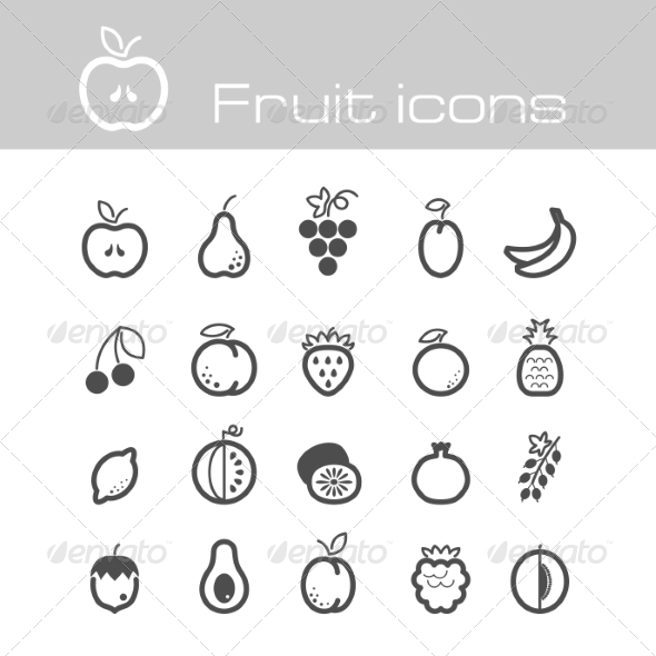 GraphicRiver Icons Set Fruits 7305771