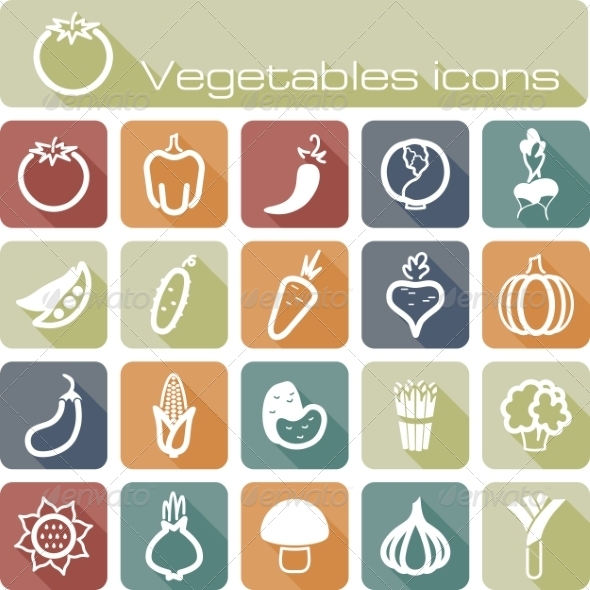 GraphicRiver Icons Set Vegetables 7305804