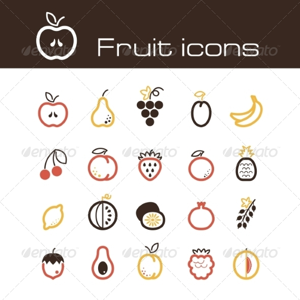 GraphicRiver Icons Set Fruits 7305841