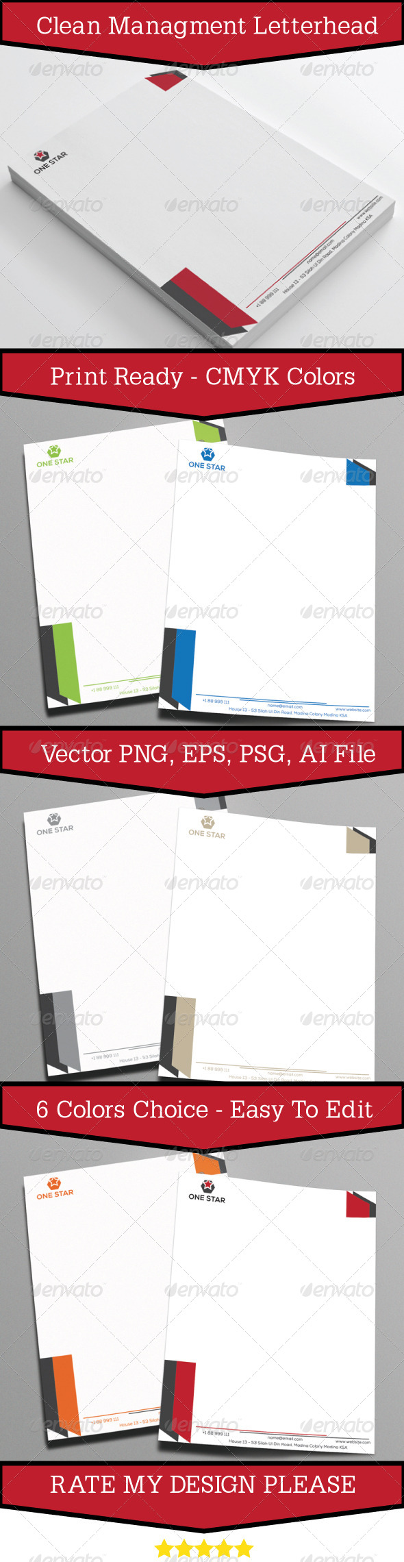 GraphicRiver Clean Management Letterhead 7305961