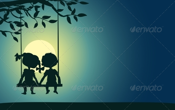 GraphicRiver Moonlight Silhouettes of a Boy and Girl 7305968