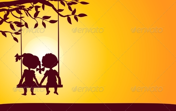 GraphicRiver Sunset Silhouettes of Boy and Girl 7305971