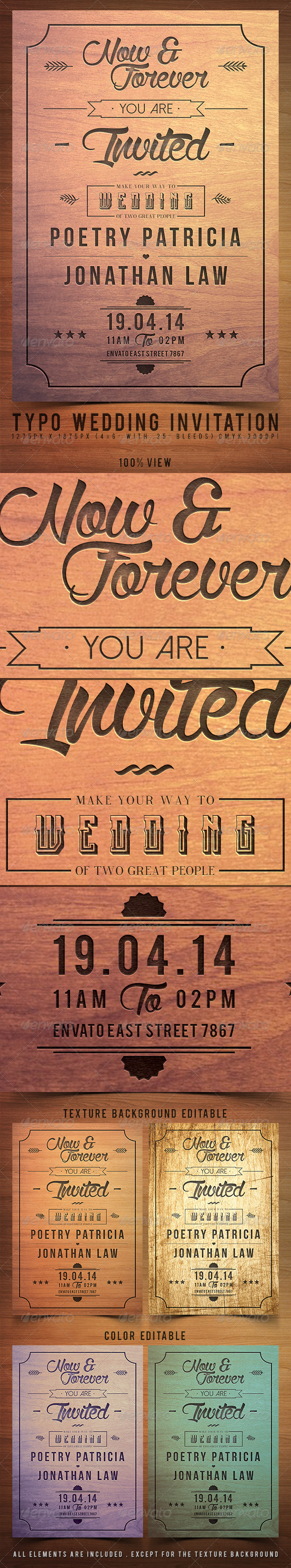 GraphicRiver Typo Wedding Invitation 7298698