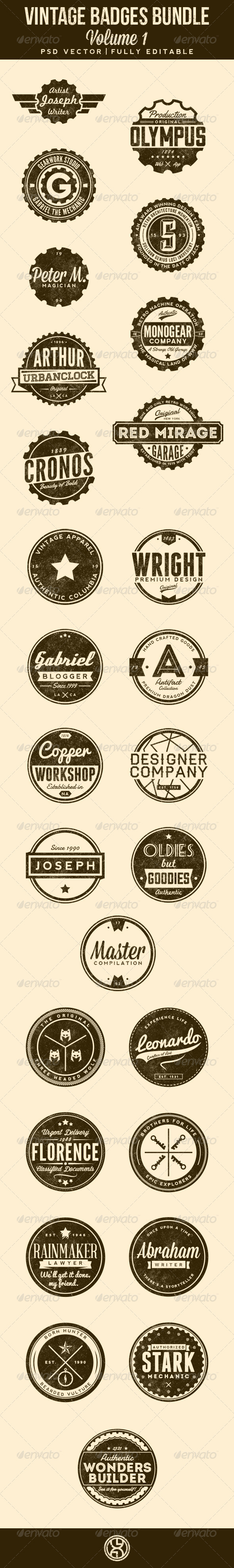 GraphicRiver 27 Vintage Badges Bundle Volume 1 7306340