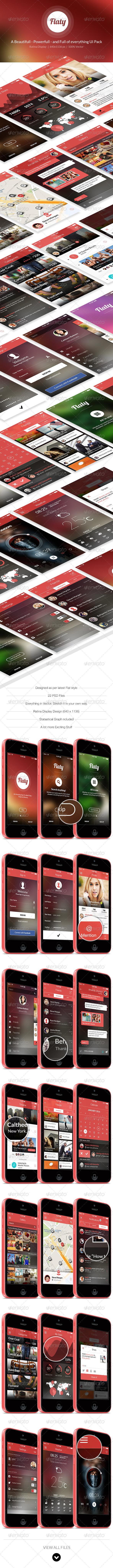 GraphicRiver Flaty A Beautiful Set of Mobile UI 7278673