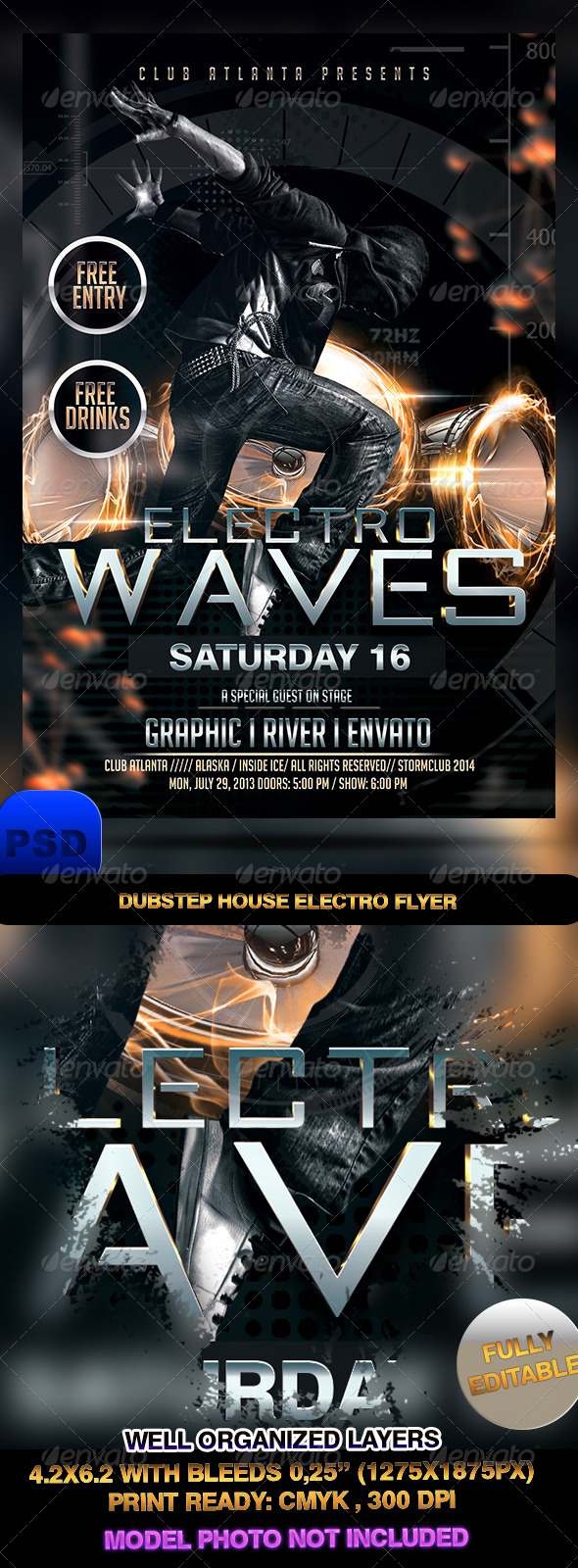 GraphicRiver Dubstep House Electro Flyer 7307486