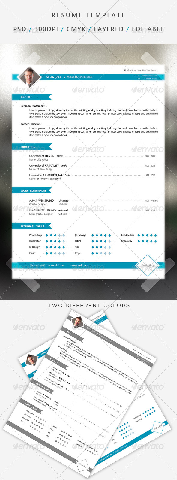GraphicRiver Professional resume cv 7308225