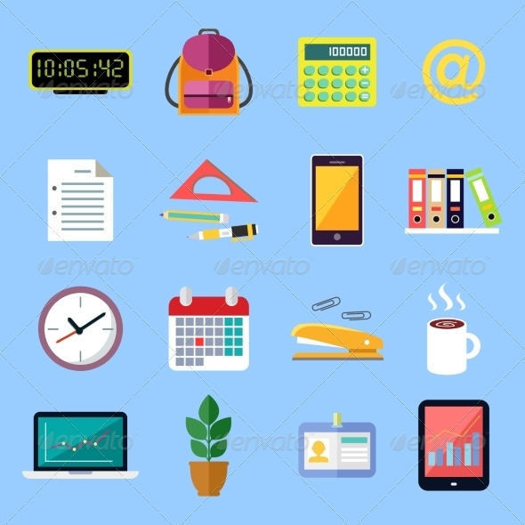 GraphicRiver Business Flat Icons Set 7308308