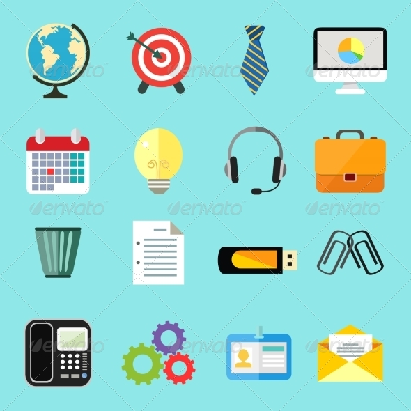 GraphicRiver Business Flat Icons Set 7308315