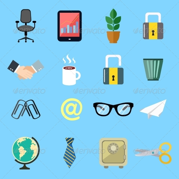 GraphicRiver Business Flat Icons Set 7308317