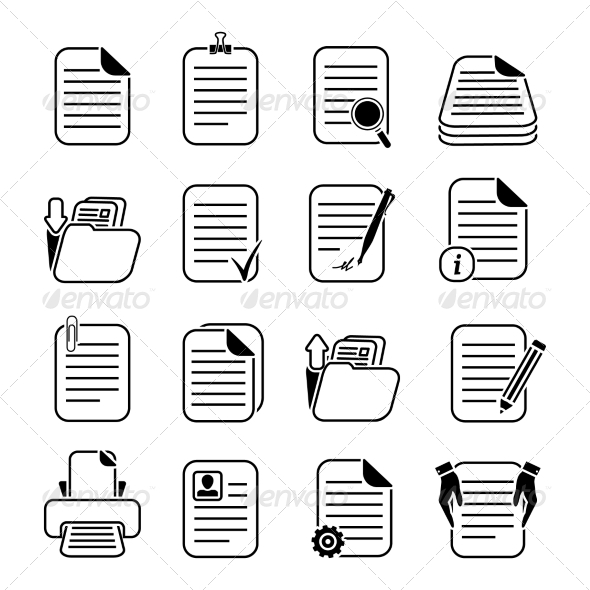 GraphicRiver Documents Files and Folders Icons Set 7308324