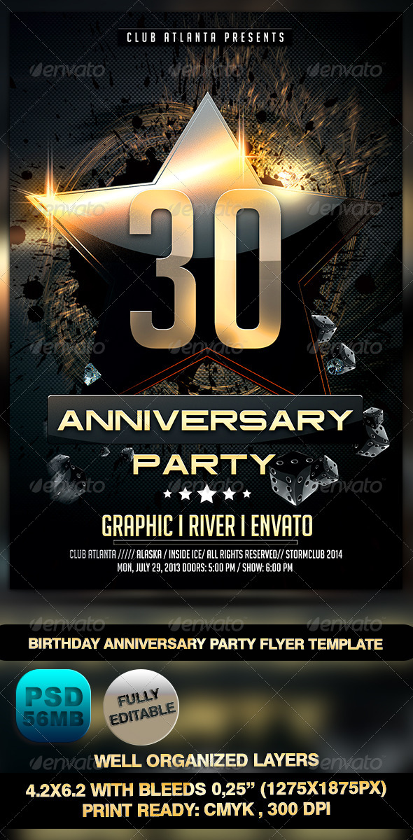 GraphicRiver Birthday Anniversary Party Flyer Template 7308558