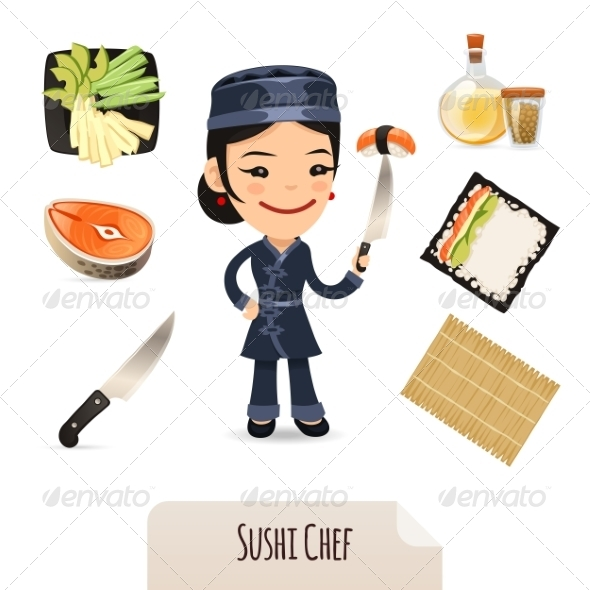 GraphicRiver Female Sushi Chef Icons Set 7308611