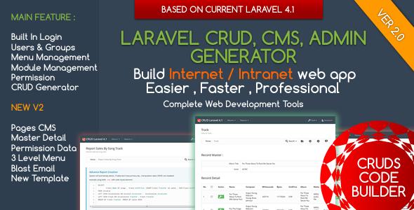 CodeCanyon Laravel CMS CRUD Builder Administrator 7194641