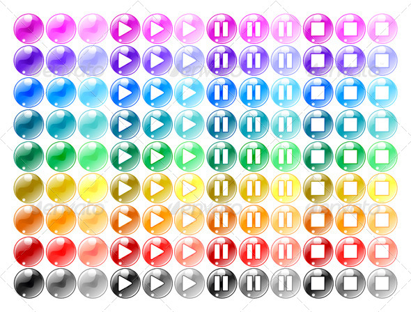 GraphicRiver Colored Player Buttons 7309374