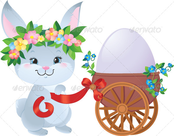 GraphicRiver Easter Bunny with Egg in a Small Cart 7309385