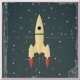 Retro Flat Design Rocket Start Space Stars Backgro - GraphicRiver Item for Sale