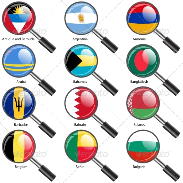 GraphicRiver Set Flags of World Sovereign States Magnifying Glass 7309837