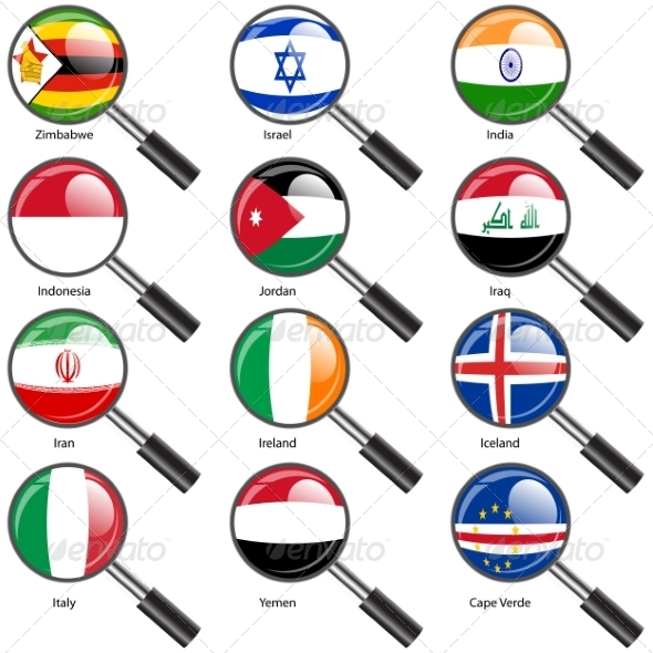 GraphicRiver Set Flags of World Sovereign States Magnifying Glass 7309853