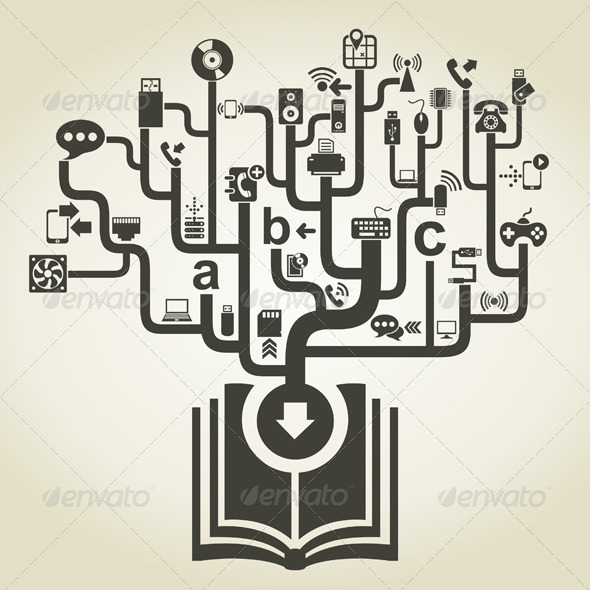 GraphicRiver Technology Icons Coming from Book 7309936